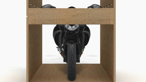 Ingenious Green: A Motorcycle Crate Becomes A Worktable After Shipping