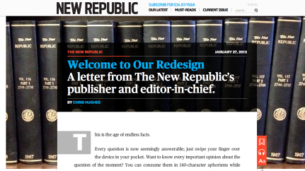 Can The 98-Year-Old New Republic Be Saved By A Facebook Co-Founder?