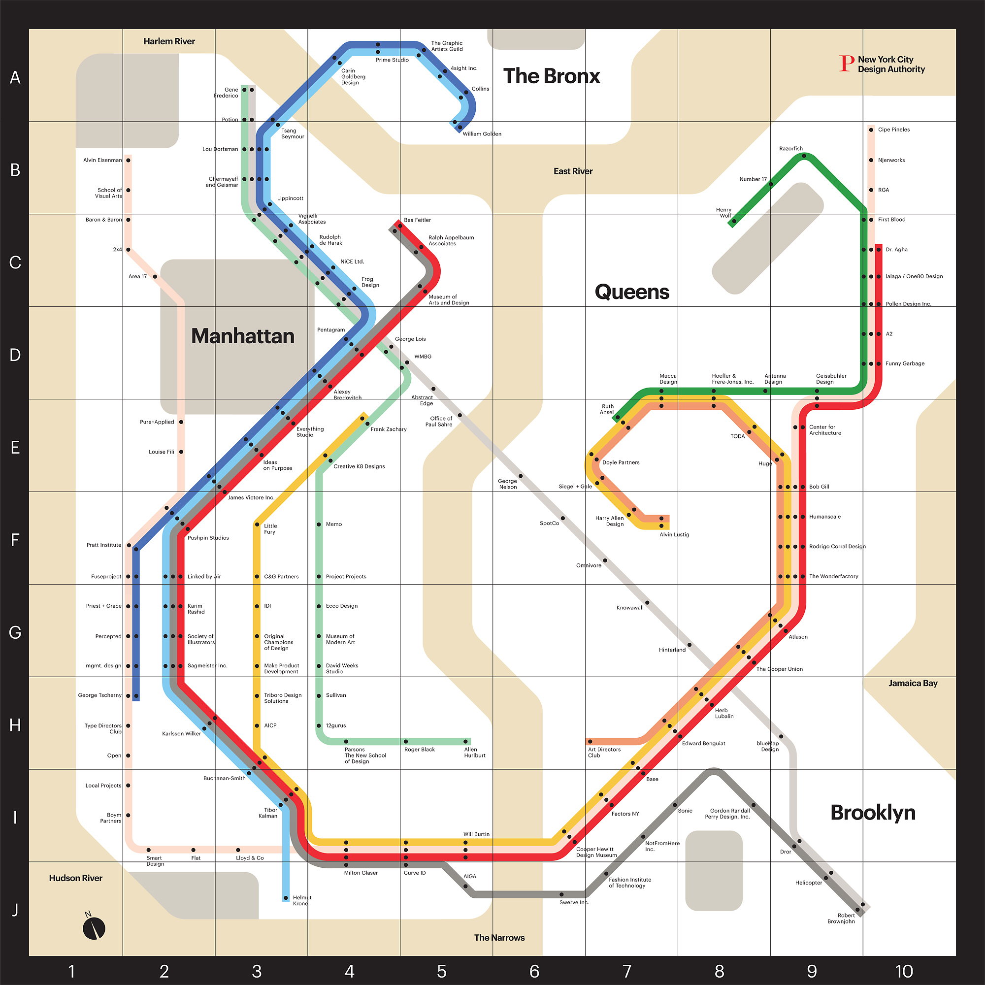 Large Ny Subway Map.Infographic Of The Day A Map Of Nyc S Design Scene