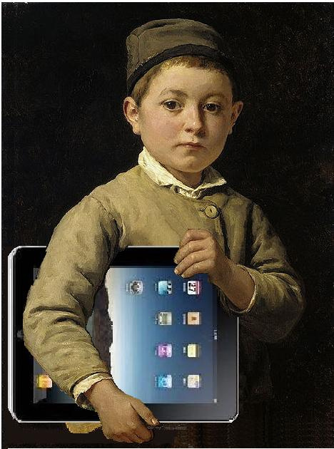 olden days schoolkid with iPad