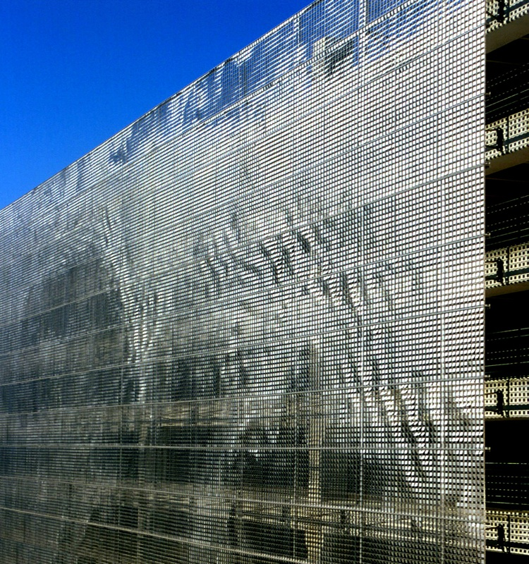 Shimmering Art Makes A Parking Garage Disappear